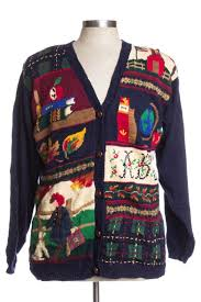Susan Bristol Size Chart Blue Ugly Christmas Cardigan 34854