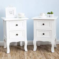 White furniture shabby chic Distress White Nightstand Set Bedside End Table Pair Shabby Chick Bedroom Furniture Red Barn Estates Shabby Chic Bedroom Furniture Amazoncom