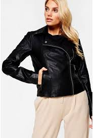 more views rebel long sleeve faux leather jacket in black