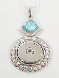 lovely aqua rhinestone 18 snap on pendant necklace fits 18 20mm noosa gingersnaps magnolia and vine snap jewelry