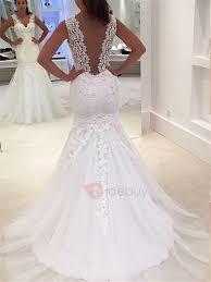 deep v back appliques lace mermaid wedding dress tidebuy com