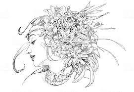 Portret Van Een Meisje Met Bloemen Headdress Voor De Kleurplaat