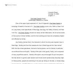 essay the great gatsby sample essay about feminist essays on the  the great gatsby landscape s relation to theme gcse english document image preview