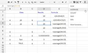 finding average values with google spreadsheets average function