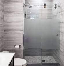 frameless frosted glass shower door in