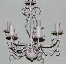 Shabby Kronleuchter Alte Lampe 5 Armig Hängelampe Weiß