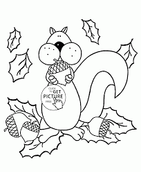 Squirrel And Autumn Coloring Pages For