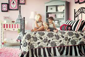 Pink Black And White Girlu0027s Bedroom Paris Theme Contemporary Kids
