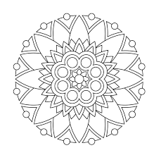 Mandalas Meditation Coloring Easy Flower Mandala