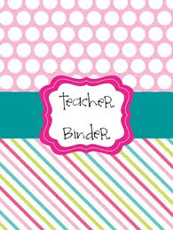 Page Binder Teacher Binder Cover Pages Pink Blue Lime Green
