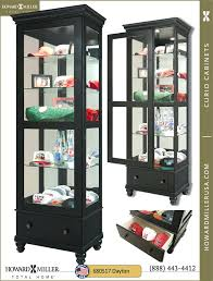 black curio miller display cabinet kings brand furniture bookcase with glass doors