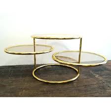 3 tier swivel coffee table mid century tiered brass and glass vintage toronto