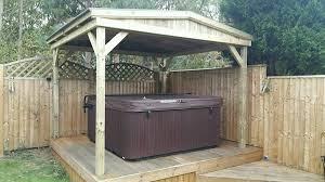 wooden garden pergola hot tub shelter