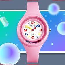 Rotating Numbers Skmei Pink Analogue Kids Watch Clear Display Numbers Colours First