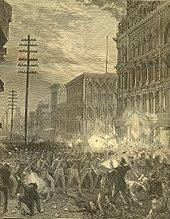 great railroad strike of  guard s sixth regiment fighting its way west along main downtown commercial thoroughfare baltimore street through baltimore maryland 20 1877