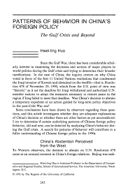 Patterns Of Behavior Gorgeous Patterns Of Behavior In China's Foreign Policy The Gulf Crisis And
