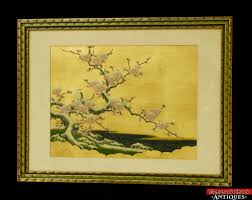 vtg original anese painting gold leaf bird snow covered cherry blossom tree