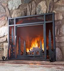 small mountain cabin fire screen with door plow and hearth 169 95
