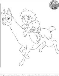 Go Diego Go Coloring Sheet Diego Is Riding A Lama Coloring Pages