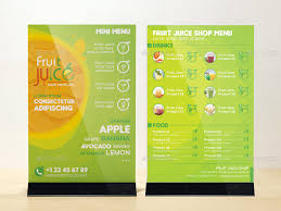 Take Out Menu Template Fruit Juice Shop Take Out Brochure And Mini Menu Template