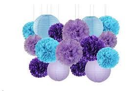Tissue Paper Pom Poms Flower Balls 16pcs Wedding Party Decor Purple Lavender Blue Tissue Paper Pom Poms Flowers Paper Flower Balls Paper Lanterns Boys Birthday Party Decor