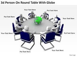 3d person on round table with globe ppt graphics icons slide01 3d person on round table with globe ppt graphics icons slide02