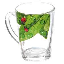 <b>Кружка стеклянная</b> Декостек <b>Живая природа</b> Зеленый лист 334-Д ...