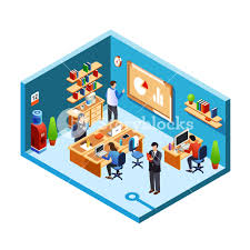 business meeting room interior design with furniture desktop computers whiteboard bookshelf vector isometric office furniture vector collection i10 vector