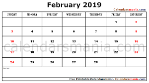 2019 Calendar Printable Template February 2019 Calendar Printable Template