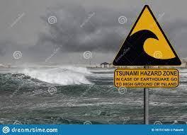 Tsunami Warning And Evacuation Sign ...