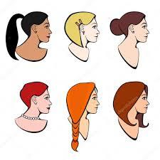 イラスト頭女の子さまざまなヘアスタイルとさまざまな髪色のベクトルを