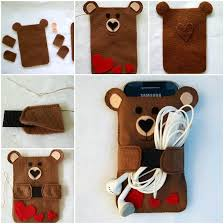 creative ideas diy cute felt bear phone case