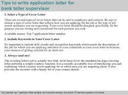 Tips Write Application Letter For Bank Teller Supervisor Related
