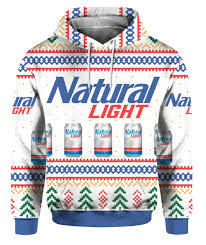 Bud Light Hooded Sweatshirt Natural Light Can Beer 3d Print Ugly Christmas Sweater