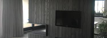 Shou Sugi Ban - Fireplace with TV cabinet - Zwarthout