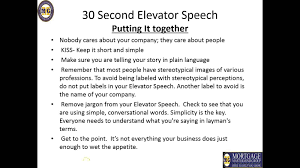 delivering a second elevator speech delivering a 30 second elevator speech