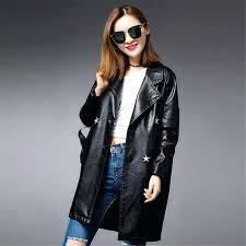 er jacket black womens women long coat winter high quality wind las leather suede satin er jacket black womens