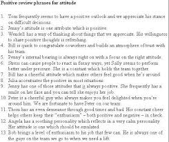 Review Examples For Employees Employee Evaluation Example Phrases