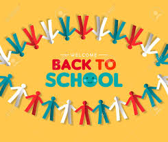 Welcome Back Graphics Welcome Back To School Greeting Card Of Paper Cut Children Group