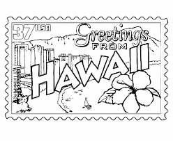 Small Picture USA Printables Hawaii Coloring Pages Hawaii State Stamp