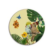 cockatoo coaster nathalie lete tropical leaf print round placemat