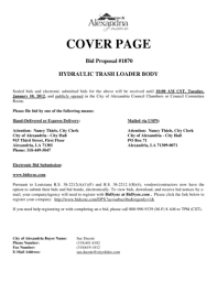 Fillable Online Cover Page Bid Proposal #1870 Hydraulic ... - City ...