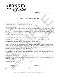 surety bond form fillable online street restoration bond form surety bond fax email