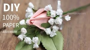 paper boutonniere paper rose paper baby breath diy boutonniere diy wedding flower