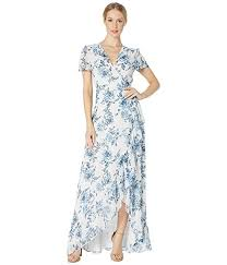 Wayf The Natasha Cap Sleeve Wrap Maxi Gown Blue Toile Floral