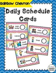 Daily Schedule Cards Pocket Chart Ready Rainbow Chevron