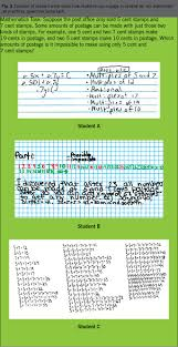 the student developed an equation to model the postage amounts that can be made smp 4 student a also thought about the structure of the numbers involved