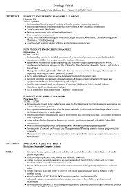 Product Engineering Manager Resume Samples | Velvet Jobs