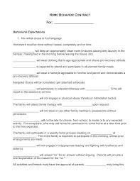 Behavior Contract Template Free Home Behavior Contract Templates At Allbusinesstemplates Com