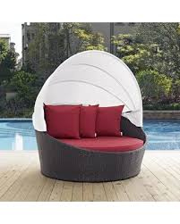outdoor patio daybed. Latitude Run Ryele Canopy Outdoor Patio Daybed With Cushions LDER2757 Fabric: Espresso Red S
